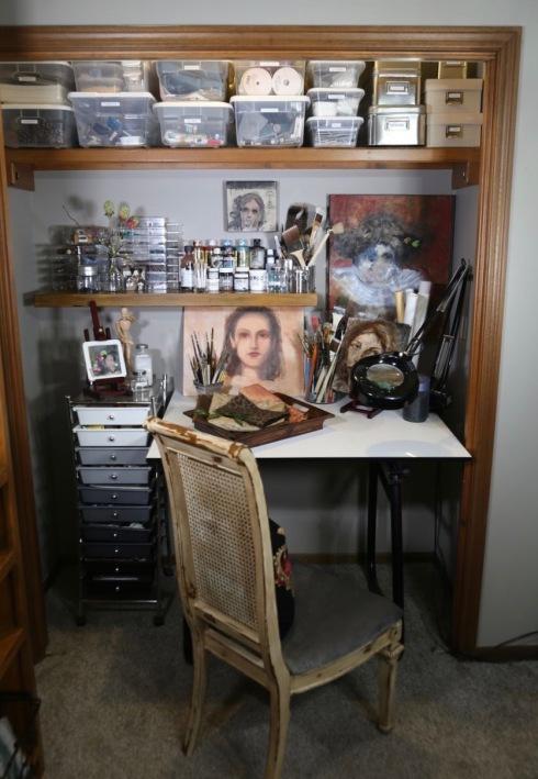 Standard closet as an art studio.