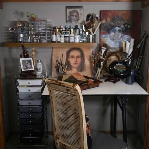 Organized closet art studio space.