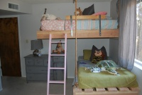 chalkboard wall, floating bunk beds, kid room color palette, kids shared bedroom solutions, toddler bedroom